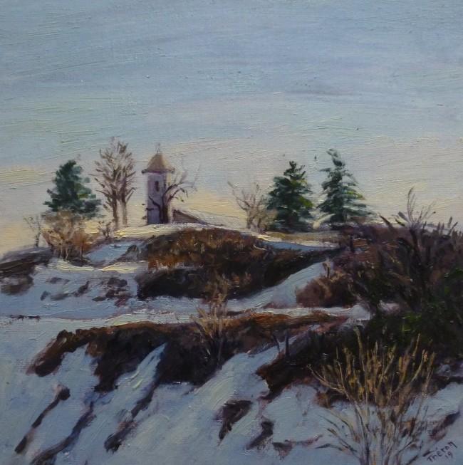 Clocher de Banon sous la neige